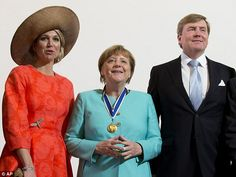 Maxima, 44, joined her husband King Willem-Alexander to congratulate German Chancellor Ang...
