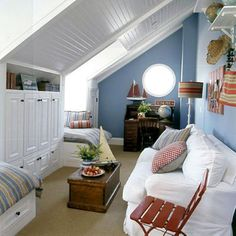 what a great use of a small space, at least two twin beds, and a sofa!