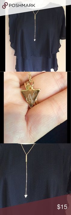 Gold color long bar triangle necklace Brand new Gold tone chain with bar and triangle pendant.  Highlight your neck and chest with the beautiful piece. Comes with a white jewelry bag. Jewelry Necklaces