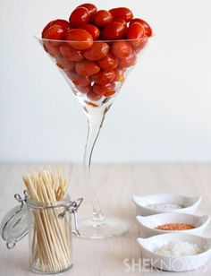 Spiked tomatoes: vodka-infused cherry tomatoes with dipping salts. Heck yeah.