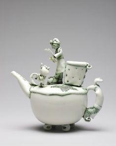 'Heidi Feeding a Bird' teapot by Fleur Schell
