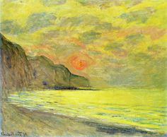 Sunset, Foggy Weather, Pourville, 1882 by Claude Monet (1840-1926, France)