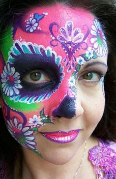 Hippie Sugar Skull Halloween Day of the Dead