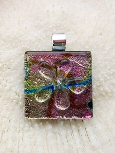 Multicolored dichroic fused glass Flower Pendant by FoxWorksStudio