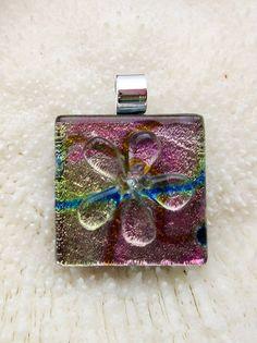 Multicolored dichroic fused glass Flower Pendant door FoxWorksStudio