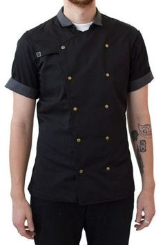 The very popular Mr. Salt chef coat is now available in a black!!! The snap down mens chef coat has arrived. Made with a sturdy breathable twill. We incorporated a short modern collar for a more conte