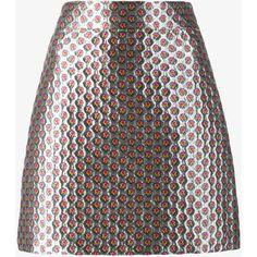 MIU MIU Metallic Mini Skirt with Micro Floral Print ($995) ❤ liked on Polyvore featuring skirts, mini skirts, bottoms, miu miu, a line mini skirt, mini skirt, floral print skirt, short miniskirt and floral print mini skirt