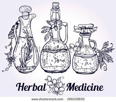 Set of elegant vintage hand drown elements for pharmacy,alternative herbal medicine, alchemy or science. Herbal Medical Concept and drawn medical herbs and bottles. Vector Illustration isolated.