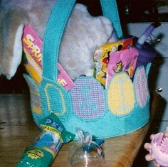 "Free Easter Plastic Canvas Patterns | Easter Basket (The name ""Olivia"" is made with the bordering eggs)"
