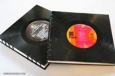 Learn how to make handmade books out of vinyl records. This would be the perfect guest book for any music lovers wedding! Vinyl Record Crafts, Old Vinyl Records, Vinyl Crafts, Records Diy, Vintage Records, Gift For Music Lover, Music Lovers, Vinyl Platten, Gravure Laser