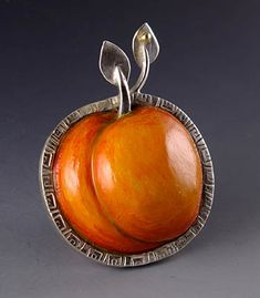 """Sarah J.G. Wauzynski: , Brooch in sterling silver with egg tempera on gesso.  Approx. 1 1/2 x 2""""."""