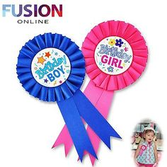 #Happy birthday boys badge #girls badge rosette blue pink deluxe award #ribbon, View more on the LINK: http://www.zeppy.io/product/gb/2/172003036575/