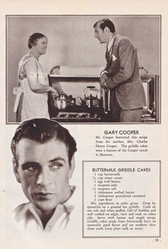 Vintage--Gary Cooper's Buttermilk Griddle Cakes as they appear in Favorite Recipes of the Movie Stars, a thin paperback cookbook published in Retro Recipes, Old Recipes, Vintage Recipes, Cookbook Recipes, Brunch Recipes, Cooking Recipes, Cooking Ideas, Homemade Cookbook, Breakfast