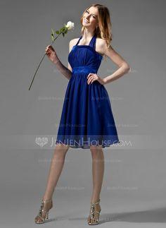 Bridesmaid Dresses - $76.99 - Empire Halter Knee-Length Chiffon Charmeuse Bridesmaid Dress With Ruffle Bow(s) (007000869) http://jenjenhouse.com/Empire-Halter-Knee-Length-Chiffon-Charmeuse-Bridesmaid-Dress-With-Ruffle-Bow-S-007000869-g869