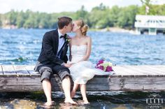 A Muskoka wedding. With feet dangling in the water.... gotta love cottage country!