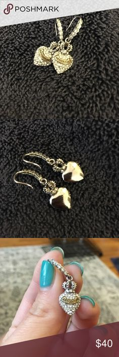 """Juicy Couture Pave Heart Earrings! 1.5"""" long Juicy Couture earrings. EXCELLENT CONDITION. Bedazzled with embedded rhinestones(?) Heart shape, topped with a crown and labeled with the brand. Juicy Couture Jewelry Earrings"""