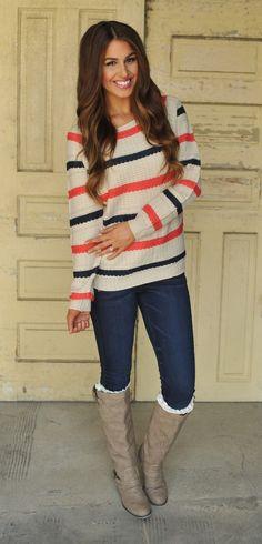 Dottie Couture Boutique - Woven Striped Sweater, $42.00 (http://www.dottiecouture.com/woven-striped-sweater/)