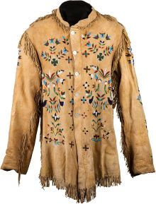 American Indian Art:Beadwork and Quillwork, A SANTEE SIOUX PICTORIAL BEADED AND FRINGED HIDE JACKET. c. 1890... (Total: 1 Items)