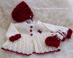 Angelina Baby Girls or Reborn Dolls PDF Knitting Pattern - Sweater Set - Matinee Coat, Bonnet & Booties. $7.00, via Etsy.
