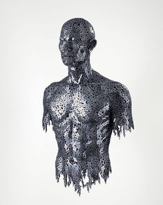 Seo Young Deok makes sculptures out of bicycle gears. His sculpture technique is unique. Rather than molding the sculpture into place, or carving it's form, he melts and links each gear into place. Unlike most conceptual art, the entire piece from beginning to end is made by his hand.