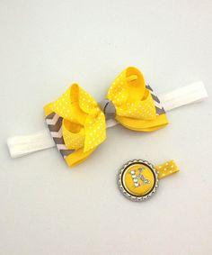 Look at this #zulilyfind! Yellow Zigzag Bow Headband & Initial Clip #zulilyfinds