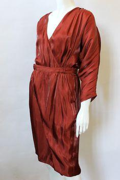 Nina Ricci Rust Dolman Sleeve Faux Wrap Dress