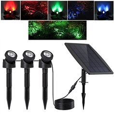 Keynice Solar Light LED Outdoor Solar Powered with 3 GRB Lamps 18 Leds  Waterproof IP 68 Security Motion Sensor Light for Pool Pond Garden Path  Patio Deck Yard Garden Driveway with 2 Modes *** You can get more details by clicking on the image.