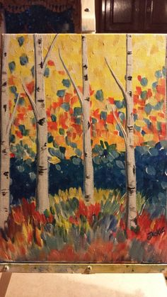 Colorful Birches Paint And Sip, Landscaping With Rocks, Birches, Landscape, September, Painting, Colorful, Board, Paint And Drink