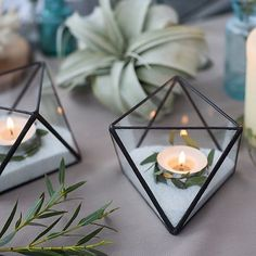 geometric wedding candle holders