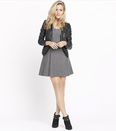 Fall back to cool with this cute grey dress and faux leather overpiece.