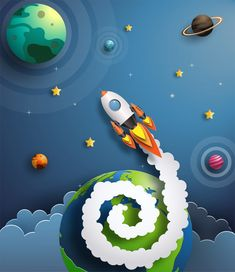 Paper art style of rocket flying in space, start up concept. 3d Paper Art, Paper Artwork, Paper Crafts, Kirigami, Paper Cutting, Crafts For Kids, Art For Kids, Cut Out Art, Paper Illustration