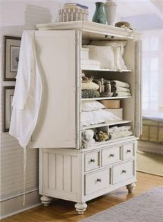 Great old armoire turned into a linen closet. Another way to use our unused armoire. Redo Furniture, Decor, Furniture Diy, Linen Closet, Furniture, Repurposed Furniture, Armoire Makeover, Home Decor, Bedroom Furniture
