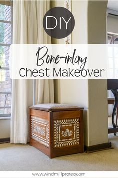 Update any piece of furniture easily with a faux bone inlay.  Use a stencil and transform your furniture with paint to look like Indian Bone Inlay. Step by step transformation guide for a small chest.