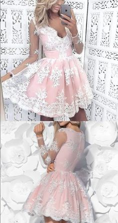 short pink homecoming dress, pink lace short homecoming #Short Homecoming Dress #HomecomingDresses #Short PromDresses #Short CocktailDresses #HomecomingDresses