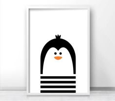 Penguin Nursery Art, Digital Download Nursery Print, Kids Art Print, Monochrome Nursery Decor, Kids Wall Art, Black White Nursery Printables