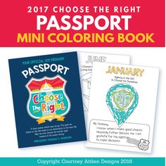 SAVE EVEN MORE by purchasing this item in the Bundled Package found here-->https://www.etsy.com/listing/461460744  These Choose the Right Passport mini coloring books are the perfect way to get your primary children excited about learning this year! These easy to-use coloring pages are a great way to teach about the Sharing Time theme each month. It even has a place for a child to write their testimony! Combine all the colored pictures and testimonies into a DARLING passport with our cute…
