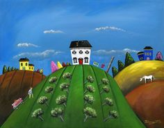 """Hilly Hard Work 16x20 Summer Original Folk Art Painting by Brianna at treehugginlovin. From the """"Hilly Series"""" of paintings."""