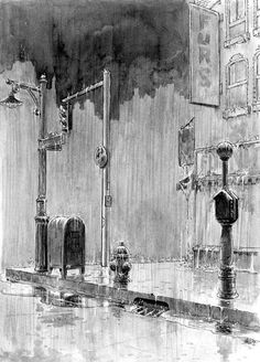 "Will Eisner, a rain-drenched illo from the ""New York"" graphic novel"