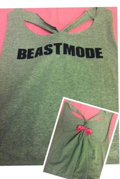 Gray Beastmode Racerback Workout Tank Top by RufflesWithLove, $20.00