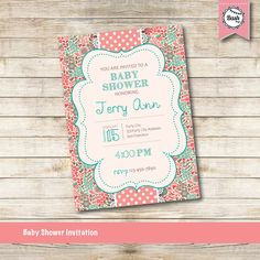 Baby Shower Invitation - Party Printable File - Pink Baby Shower Invitation #babyshower #babyshowerinvitation #printableinvitation #printableparty #partyinvitation #itsagirl