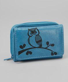 Look at this #zulilyfind! LAVISHY Blue Embroidered Owl Wallet by LAVISHY #zulilyfinds