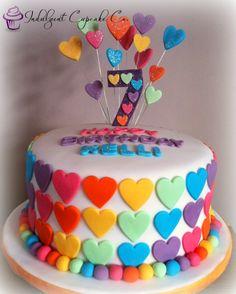 Colourful 3 layered heart cake...........