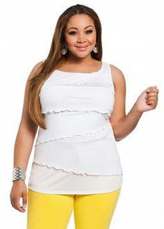 5953cdc699a Ashley Stewart Women s Plus Size Sleeveless Asymmetrical Tiered Top White