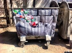 A Kyrgyz street artist named Aida Sulova is bringing awareness to the rampant garbage problem in Bishkek by using trash bins as a canvas to express her s. Dutch Artists, French Artists, Trippy Photos, Activist Art, Graffiti, Found Art, Trash Bins, Environmental Art, Street Artists