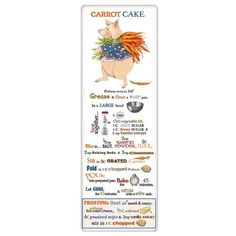 A clever gift for a friend, this flour sack towel is made to be used in the kitchen. The towel features the recipe for carrot cake.  When the towel is wrapped in packaging it is 15 x 5.75 inches. When opened the towel is 30 x 30 inches. #ShelburneCountryStore - #CarrotCake #Recipe Towel, $9.95 (http://www.shelburnecountrystore.com/carrot-cake-recipe-towel/)