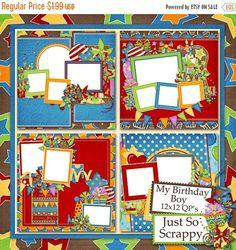 On Sale 50% Off My Birthday Boy 12x12 Birthday by JssScrapBoutique