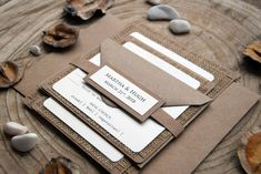 Rustic Wedding Invitation Burlap Invitation by PaperStudioByC