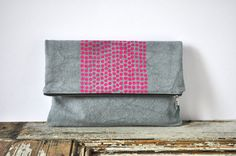 MADE TO ORDER  Large Pouch / Fold Over Clutch  Gray with door eveden, $35.00