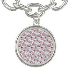 Girly Pink and Gray Vintage Floral Pattern Charm Bracelets