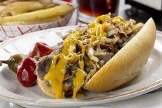 Philly Cheese Steak Sandwiches | MrFood.com Mr Food Recipes, Cheese Recipes, Cooking Recipes, Burger Recipes, Diabetic Recipes, Yummy Recipes, Dinner Recipes, Cheese Steak Sandwich Recipe, Steak Sandwiches